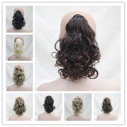 2017 súper nuevo y corto rizado envolver alrededor de la extensión del pelo de cola de caballo para las mujeres 8 colores select en venta
