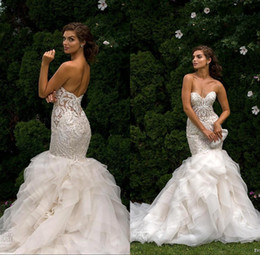 Wholesale tires sizes resale online - Brides Lace Appliques Wedding Dresses Sweetheart Mermaid Sheer Backless Tired Skirts Ruffles Plus Size Bridal Gowns