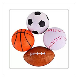 foam footballs wholesale Canada - Hot Fidget Toys Sprots Balls Mini Soft PU Relaxable Balls Football Soccer Ball Basketball Baseball For Kids Foam Sports Balls Free Shipping