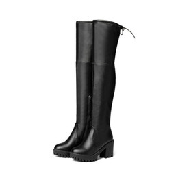 $enCountryForm.capitalKeyWord Canada - Fashion Women Shoes Synthetic Leather Block Heel Zip Round Toe Over Knee High Boots B605 US Size 4 -10.5 Black
