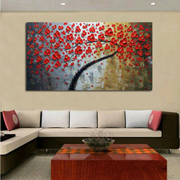 $enCountryForm.capitalKeyWord Canada - Nice red flowers tree 100% hand painted palette knife landscape oil painting on canvas modern simple painting home decoration
