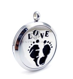 Locket Love NZ - Chain as gift Baby footprint and Love (30mm) Essential Oils Stainless Steel Necklace Perfume Diffuser Locket Aromatherapy Locket Necklace