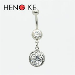 clear belly rings UK - 3A Zircon Belly Bar Navel Ring Button 316L Stainless Steel Crystal Clear CZ Gem Dream Star Heart Crown Body Piercing Jewelry
