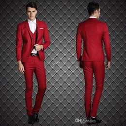 Classic Suit Red Navy Canada - Classic Slim Fits Red Groom Tuxedos Notch Lapel Groomaman Blazer Man Normal Business Suits (Jacket+Pants+Vest+tie)