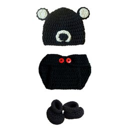 infant girl booties UK - Newborn Teddy Bear Costume,Handmade Crochet Baby Boy Girl Animal Bear Hat Diaper Cover Booties Set,Infant Halloween Costume Photo Prop