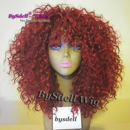 burgundy red hair color black women NZ - Beauty Bahamas Kinky Curly Hair Wig Synthetic Burgundy Red Color Lace Front Wig Fluffy Big Hair Lace Front Wigs for Black Woman
