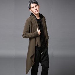 Manteaux De Tranchées Marron Pour Hommes Pas Cher-Vente en gros - Style coréen extra long Punk Trench manteau Brown Loose Autumn Spring Hip hop outerwear
