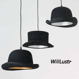 Discount masters hats - Handmade wool felt hat aluminum pendant lamp fabric cap suspension light hanging lighting restaurant hotel dinning hall