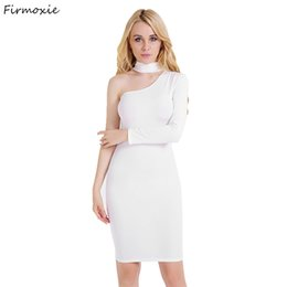 Matières De Filles Sexy Pas Cher-Vente en gros- Femmes Bow-Neck Gaine Knee-Length Bodycon Robes, Nightclub Sexy One-shoulder Dress, Girls Fashion Party Cotton Material Clothes