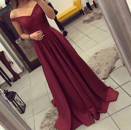 New fashioN dress teeN online shopping - 2017 New Arrival Elegant Burgundy A line Prom Dresses For Teens Off the Shoulder Formal Dresses Evening Wear Party Prom Dresses