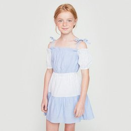 Barato Vestidos De Bebês Adolescentes-Summer Teenager Striped Dresses Junior Fashion Off-shoulder Dress Big Babies Summer Singlet Dress 2017 roupas para crianças