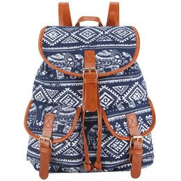 Chinese  Wholesale- Sansarya New 2017 School Bag Bohemian Vintage Women Backpack Drawstring Printing Canvas Bagpack Sac a Dos Femme Rucksack Female manufacturers