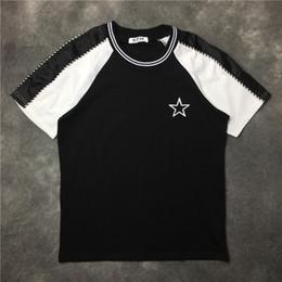 $enCountryForm.capitalKeyWord NZ - Newest Fashion Embroidery pentagram stripe black and white T-Shirt Summer trendy Mens Hip Hop Short Sleeve Tee Tops Clothing