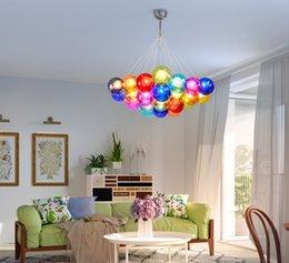 Colorful Glass Ball Lamp G4 LED Pendant Lights 110V 220V Creative Design  Lighting Fixtures For Home Deco Bar Coffee Living Room LLFA