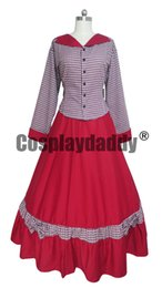 Wholesale victorian woman costume for sale – halloween Civil War cosplay costume Victorian Tartan Evening Gown Red Dress H008