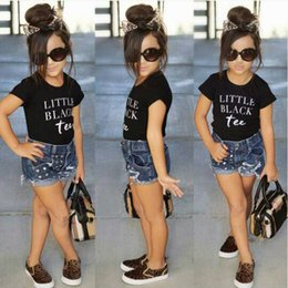 Denim Style For Babies Canada - Kids Clothing Fashion Black Tshirts + Denim Shorts Sets For Girls Baby Letter Printed Clothes Children Summer Outfits 2 pcs Suits A08