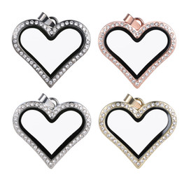 Glasses Trade Canada - Necklace selling foreign trade jewelry necklace can open the glass phase box pendant heart shaped alloy pendant S137