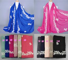 cotton hijab scarf design 2019 - Wholesale-NEW design women's fashion embroider flower cotton popular long scarf wrap head Muffler hijab muslim scar