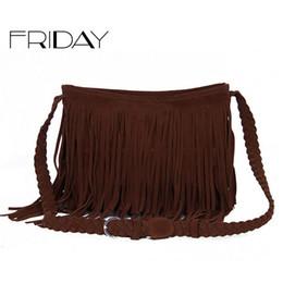 Wholesale- Hot Sale Fashion Women s Suede Weave Tassel Shoulder Bag  Messenger Bag Fringe Handbags e628176060800