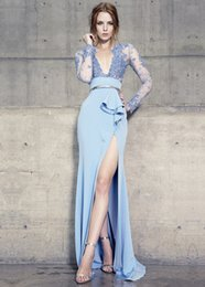 Blue Hollow Canada - Fantastic 2017 Blue Mermaid Lace Appliques Evening Dresses With Long Sleeves Deep V-Neck Hollow Back Fitted Evening Gowns With Slit Cheap