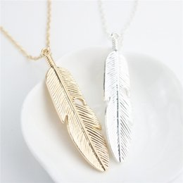 indian feather pendant Canada - Fashion Necklace Feather Necklaces & Pendants Vintage Women Necklaces Long Chain Gold Silver Color For Party