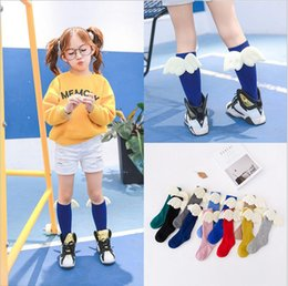 Wholesale Children Socks Angel wing shape Baby Kids Socks Cute Cartoon Knee High Long candy color Socks Toddler Clothing for Year pairs p