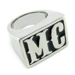 316l Ring Mix NZ - Free Shipping! Punk Motor Club Rings 316L Stainless Steel Silver White color MC Letter Biker Ring Jewelry
