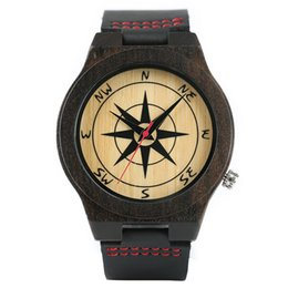Quartz Paint Canada - Men Watches Dark Tone Sandalwood Compass Painting Dial Modern Nature Wooden Wristwatches Sofe Real Leather Sport Bamboo Clock
