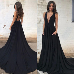 Discount white open back prom dresses - Sexy Plunging V Neck Black Prom Dresses A Line Sleeveless Open Back Long Party Evening Gowns Holiday Dresses New BA6158