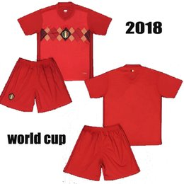 3035bb1a1 newest Belgium 2018 World Cup Home red adlut kits LUKAKU FELLAINI E.HAZARD  KOMPANY DE BRUYNE Soccer Jersey 18 19 men football shirt