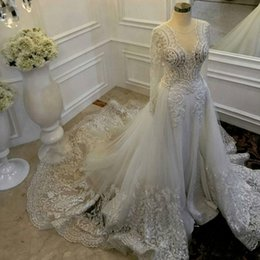 Detachable lace neckline weDDing Dress online shopping - Vintage Sheath Wedding Dresses With Detachable Train Sheer Neckline Lace And Tulle Wedding Gowns Illusion Long Sleeves Bridal Dress