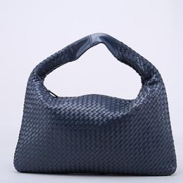 ee65d1563a8e Wholesale- Brand New Celebrity Ladies Woven Leather Handbag Criss-Cross Hobo  Dumplings Bag Women s Knitting Casual Tote