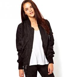 Zippers Wholesalers NZ - Wholesale- Women Thin Bomber Jersey Jacket Tops Long Sleeve Short Waist Outerwear Coat Solid Color Short Zipper Jacket