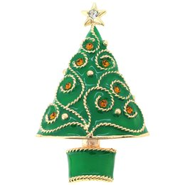 Pin Shine UK - Green Christmas Tree Crystal Pin Brooch,Enamel Shining Star Wishing Tree Brooch 1.625 x 2.625 inches