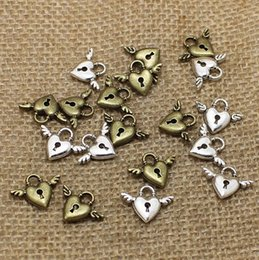 Discount antique bronze beads - 300pcs Antique Silver bronze Alloy mini Wings Heart Charms pendant lock cylinder For Jewelry Making DIY 13*18mm