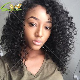 Deep Curly Indian Lace Wig Australia - Deep Curly Lace Front Wig With Deeping Parting Brazilian Full Lace Front Wigs Human Hair With Natural Color In Stock