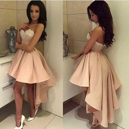 Discount red prom dress lo high - Modern High Low Style Arabic Short Prom Homecoming Dresses A Line Sweetheart Lace Appliqued Ball Gown Cocktail Dresses H