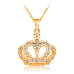 white roses flower crown 2019 - Fashion Necklace For Women Girls Crystal Rhinestone Crown Charm Necklaces & Pendants 18k Rose Gold   Platinum Plated Who