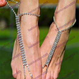 Barato Anel De Atacado Para O Pé-Hot Fashion Women Foot Chain banhado a prata Rhinestone Barefoo Wedding Bride Anklets With Toe Ring 2017 NOVO atacado