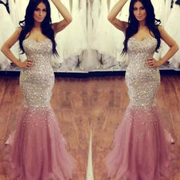StrapleSS Silk gown online shopping - 2017 Sweetheart Crystal Beaded Sequin Evening Dresses Luxury Mermaid Tulle Satin Floor Length Plus Size Skin Pink Prom Dresses Pageant Gown