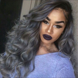 $enCountryForm.capitalKeyWord Australia - Grey Synthetic Lace Front Wig glueless heat resistant two tone ombre black to sliver synthetic lace front wig with baby hair for black women