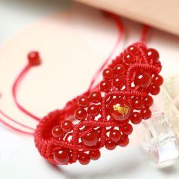 Os modelos masculinos e fêmeas do bracelete vermelho natural do bracelete da ágata abrem a corda da mão em Promoção