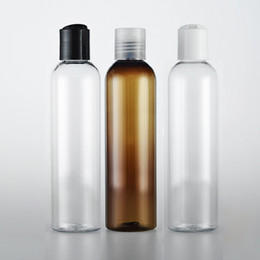 China 30pcs 250ml white brown empty lotion bottles plastic with disc top screw cap,250cc clear white shampoo PET bottles wholesale 250ml cosmetics suppliers