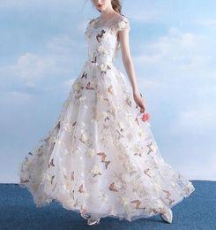 41a61ba54 Long Elegant 3D Flower Butterfly Printed Evening Dresses Cap Sleeve A Line  Floor Length Girls Party Gowns Formal Dress Custom Size