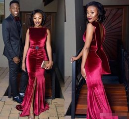 Discount velvet african fashion dresses African Velvet Mermaid Evening Dresses Dark Red Front Split Backless Prom Dress sash beads Aso Ebi Black Girls Formal Co