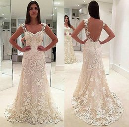 Barato Elegante Vestido De Noite Marfim-Elegant 2017 Ivory Lace Tulle Prom Dresses Backless Mermaid Vestido de festa sem mangas Long Evening Gowns Cheap