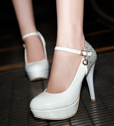 Pink Glitter Sequin Shoes Women Canada - Wholesale New Arrival Hot Sale Specials Super Fashion Influx Sweet Girl Sexy Belt Buckle Sequins Large Size Heels Dress Shoes EU34-40