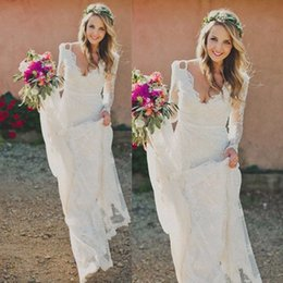 $enCountryForm.capitalKeyWord Canada - Vintage Designer Boho Wedding Dresses Long Sleeves 2017 V Neck Open Back Lace Country Bridal Gowns Handmade Robe De Mariage