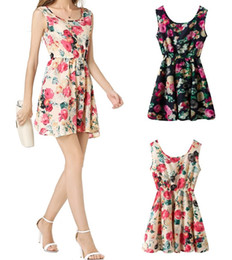 elastic waist club dress Canada - 2017 Plus Size Sexy Summer Elastic Waist Casual Simple Sleeveless Short Dress Sundress Beach Floral Tank Mini Dresses Vestido