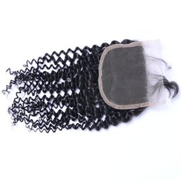 Chinese  Hot Sell Wholesale Can Be Dyed Ombre Kinky Curly Human Virgin Hair Extensions Natural Color Brazilian Indian Peruvian Malaysian 4*4 Closure manufacturers